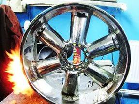 Правка литых дисков - нагрев